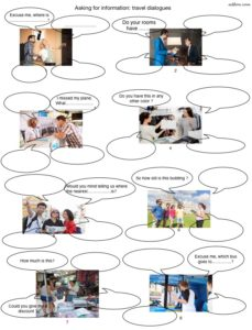 Asking for information travel dialogues worksheet for English language learners.