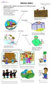 Attention getters academic writing exercise using pictures for elementary writing students.