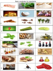 Elementary Vocabulary for food ingredients exercise for ESL students.