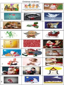 Christmas vocabulary and picture matching dictation or game