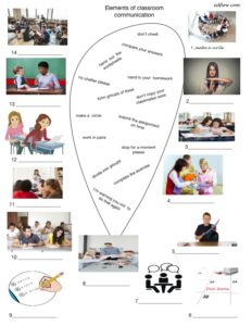 Common classroom language and vocabulary picture matching exercise.