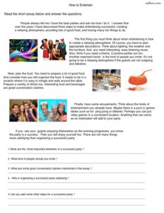"""""""How to Entertain"""" reading comprehension worksheet for English language learners."""