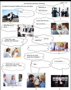 Job-interview-scenarios vocabulary and speaking complete-the speech-bubble exercise.