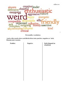 Personality adjectives positive negative sorting exercise