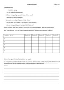 Predictions survey for teaching the future tense classroom exercises.