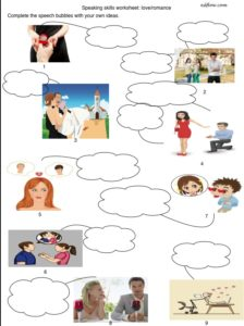 Love and romance speech bubbles