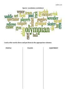 Sports vocabulary sorting exercise.