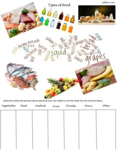 Elementary types of food vocabulary sorting worksheet for English language learners.