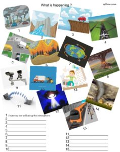 What is happening picture worksheet for present continuous