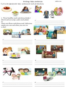 Writing topic sentences for paragraphs in sets of three ideas for elementary academic writing students.
