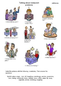 Restaurant problems speaking and vocabulary exercise