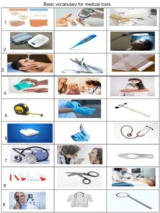 Basic vocabulary for medical tools exercise