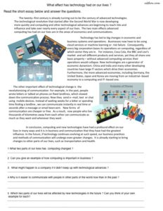 Effects of technology reading comprehension worksheet for English language learners.