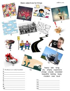 Adjective for things vocabulary and picture matching exercise