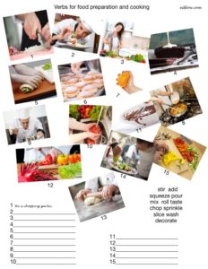 Verbs for food preparation and cooking language and vocabulary exercises