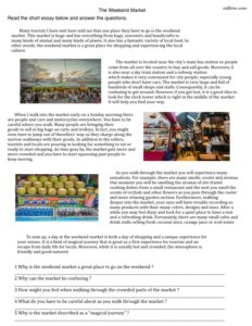 A reading comprehension exercise about a weekend market for English language learners.