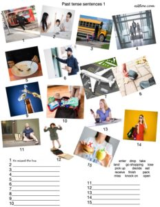 Past tense verb exercise with pictures