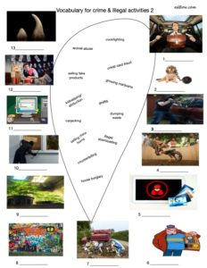 Crime and illegal activities vocabulary and picture matching 2