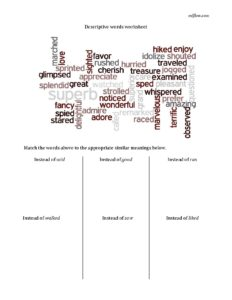 Descriptive writing word sorting