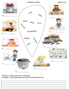 Elements of cooking vocabulary exercise for language learners