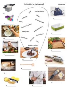 Advanced kitchen vocabulary-picture matching exercise.