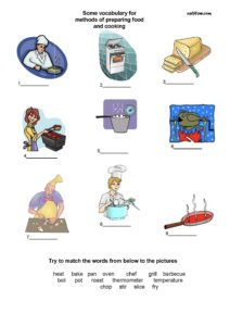 Elementary vocabulary-picture  matching  exercise for ways and methods of cooking.