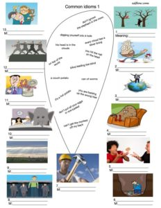 Common idioms vocabulary and picture matching exercise