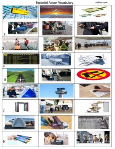 Essential airport vocabulary  vocabulary-picture matching exercise for English language learners.