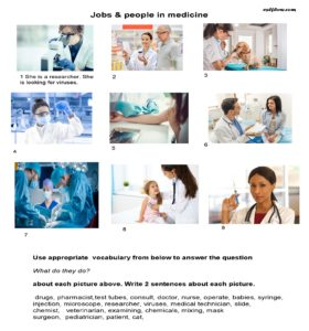 Jobs for medicine vocabulary worksheet exercise