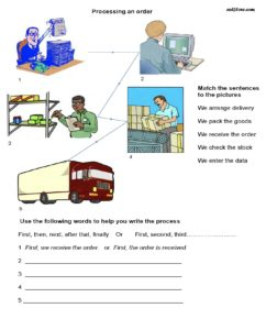 Processing and order elementary writing exercise.