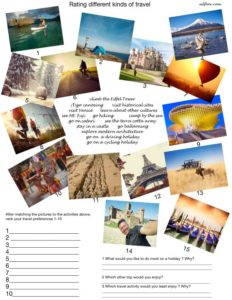 Travel activity picture -vocabulary matching and ranking exercise for ESL and English language students.