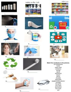 Health and safety equipment vocabulary language exercises.