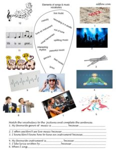 Songs and music vocabulary exercise and speaking activity.