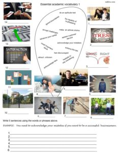Essential academic vocabulary exercises with picture/matching, gap fill exercises and answers. and answers
