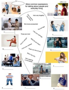 Vocabulary and picture matching exercise for t describing people in everyday situations.