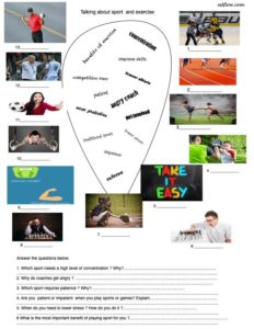Sport vocabulary and speaking activity.