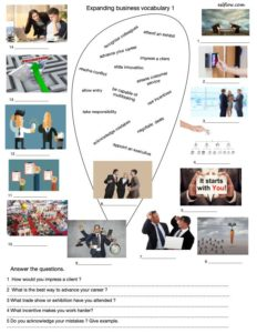 Expanding business English vocabulary is an intermediate worksheet with vocabulary-picture matching and questions.