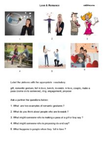 Valentine's Day and romance vocabulary and questions exercise for English language students.