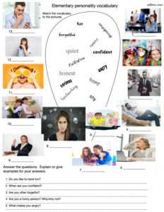 Elementary personality vocabulary-picture matching and questions.