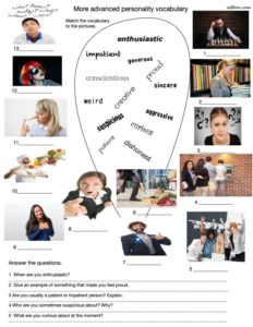 Advanced personality adjectives and vocabulary-picture matching exercise and questions for students.
