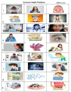 Common health problems vocabulary worksheet