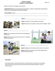 Uniforms or casual clothes paragraph writing exercise