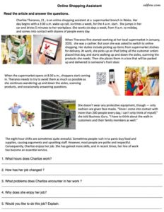Online shopping assistant reading comprehension