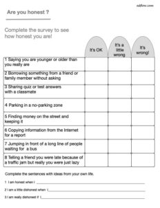 Easy honesty survey for students.