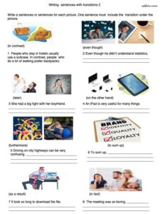 Transitions worksheet with pictures for essay writing