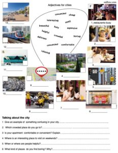 Adjectives for the city listening/speaking activity