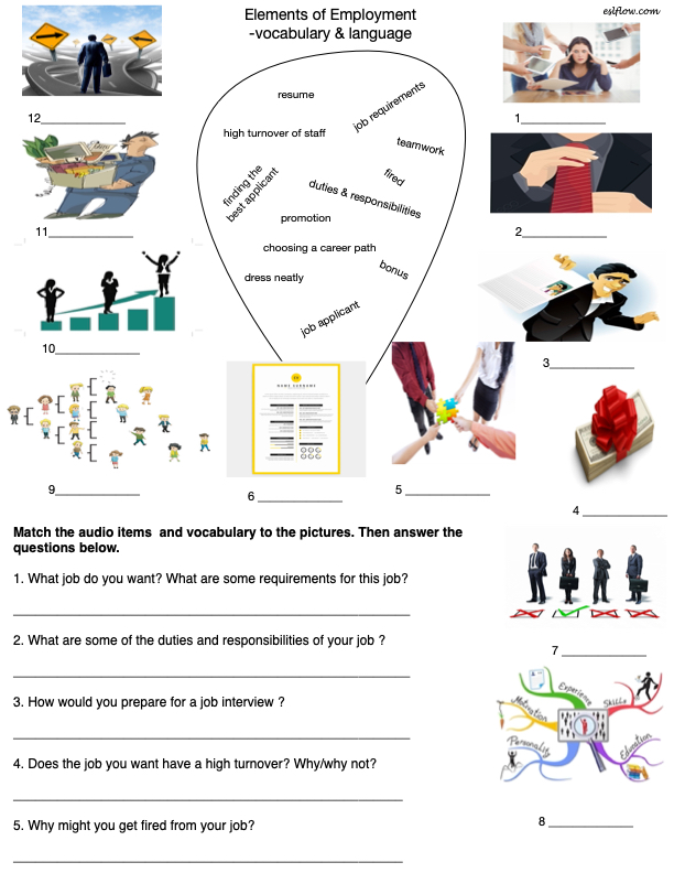 Jobs and employment vocabulary and language exercise for ESL students.