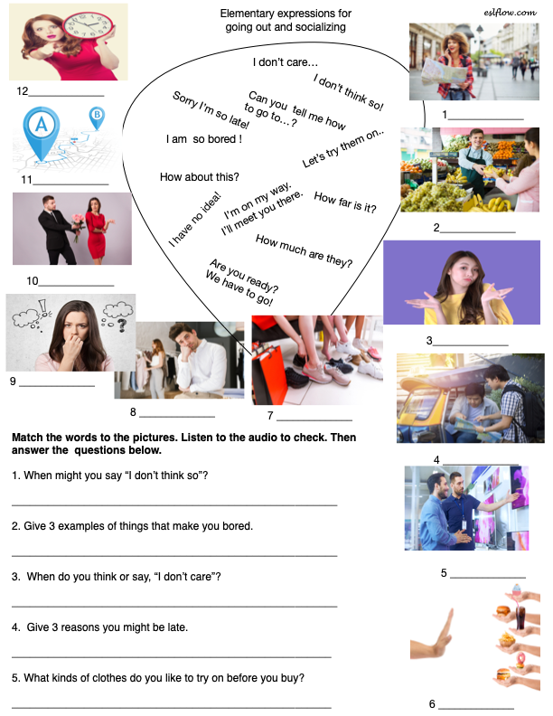 Speaking expressions exercise and worksheet for going out shopping and socializing.